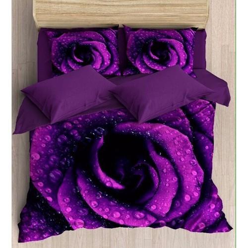 Alaca 3D Çift Kişilik Pamuk Saten Nevresim Takımı - Purple Rose + Havlu Hediyeli