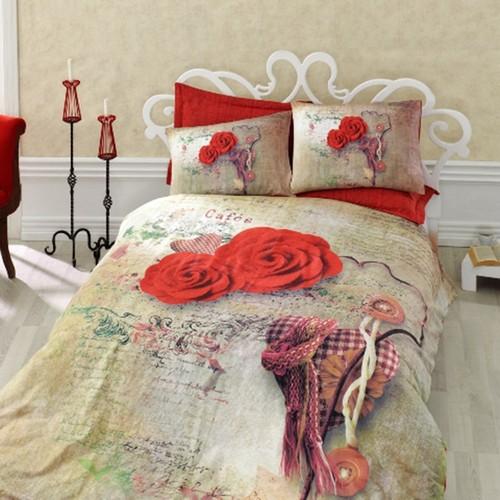 Cotton Box Greta Kırmızı Çift Kişilik 3D Nevresim Alana Pike Hediye -(Arca Pike)