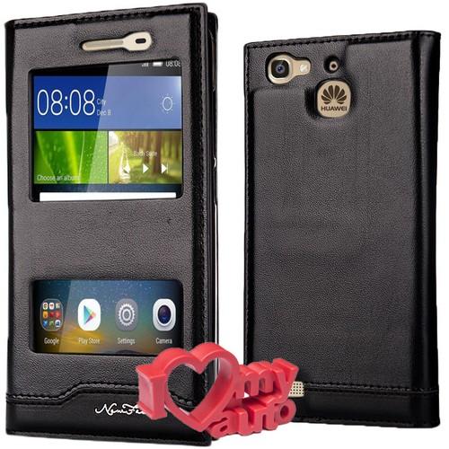 CoverZone Huawei GR3 Kılıf Magnum Vip Pencereli Siyah + 3d Araç Kokusu
