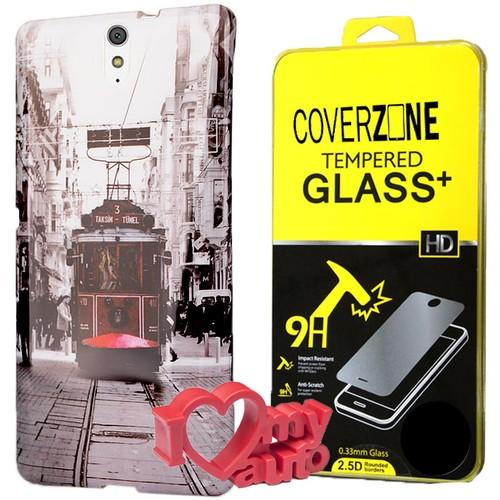 CoverZone Sony Xperia C5 Kılıf Desenli Silikon Tramway + Kırılmaz Cam + 3d Araç Kokusu