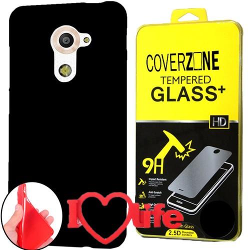 CoverZone Vodafone Smart Pro 7 Kılıf Silikon Siyah + Kırılmaz Cam + 3d Araç Kokusu