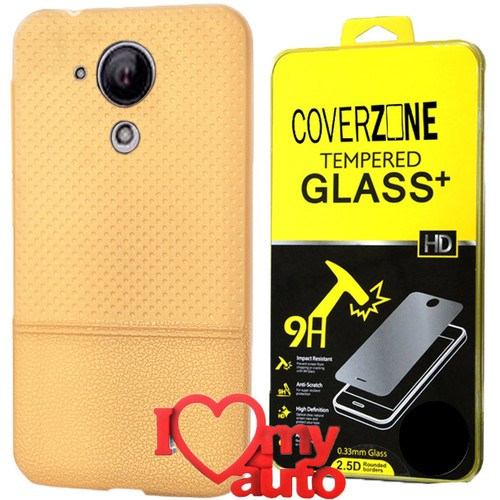 CoverZone Casper Via E1 Kılıf Dot Silikon Gold + Kırılmaz Cam + 3d Araç Kokusu