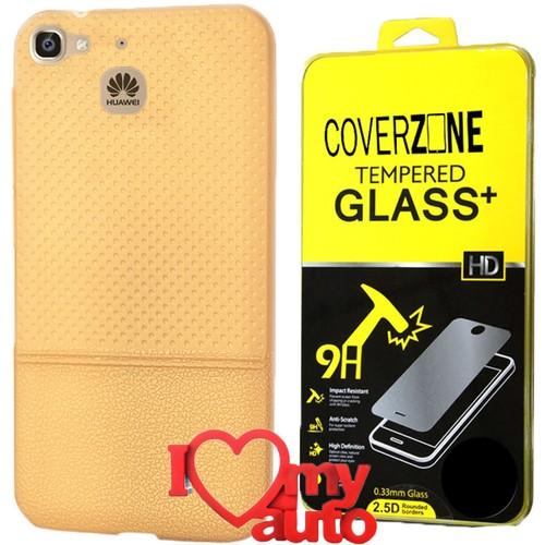 CoverZone Huawei GR3 Kılıf Dot Silikon Gold + Kırılmaz Cam + 3d Araç Kokusu