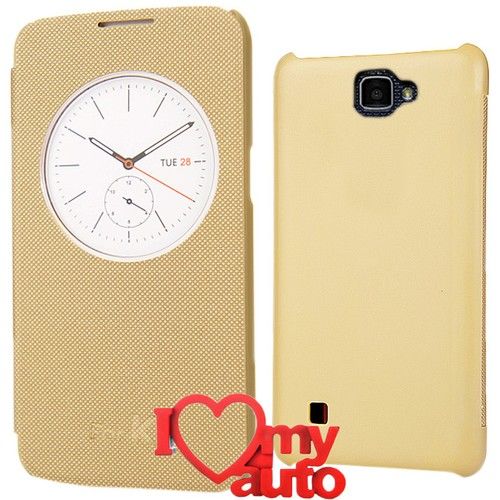 CoverZone Lg K4 Kılıf Quick Flip Cover Gold + 3d Araç Kokusu