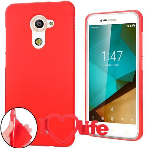 CoverZone Vodafone Smart Pro 7 Kılıf Silikon Kırmızı + 3d Araç Kokusu