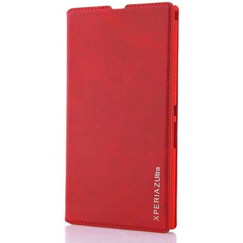 CoverZone Sony Xperia Z Ultra Kılıf Deri Kapaklı Kırmızı