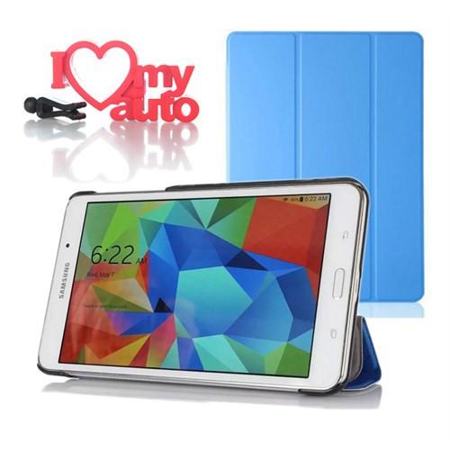 CoverZone Samsung Galaxy Tab 4 T230 Kılıf Book Cover Mavi + 3d Araç Kokusu