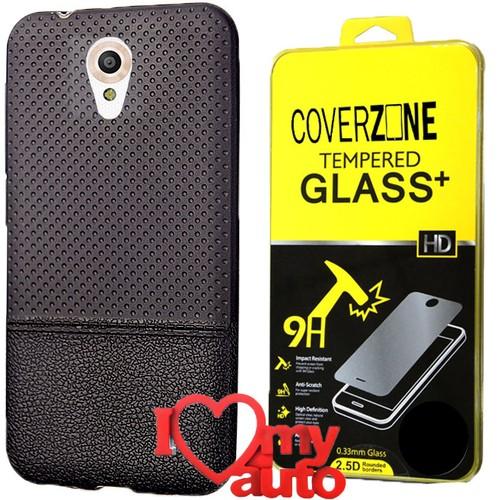 CoverZone Vodafone Smart Style 7 Kılıf Siyah + Kırılmaz Cam + 3d Araç Kokusu