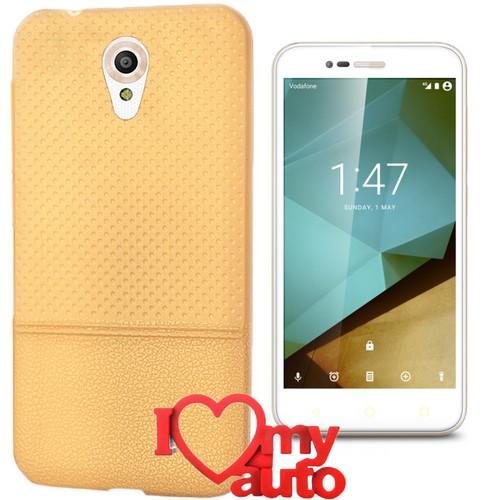 CoverZone Vodafone Smart Style 7 Kılıf Gold Dot Silikon Gold + 3d Araç Kokusu
