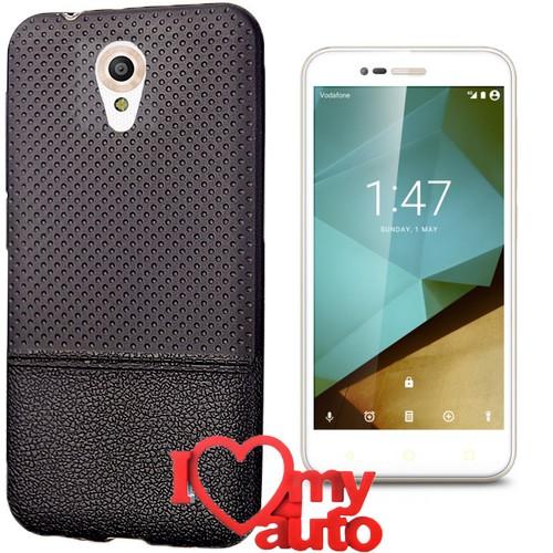 CoverZone Vodafone Smart Style 7 Kılıf Siyah Dot Silikon Gold + 3d Araç Kokusu