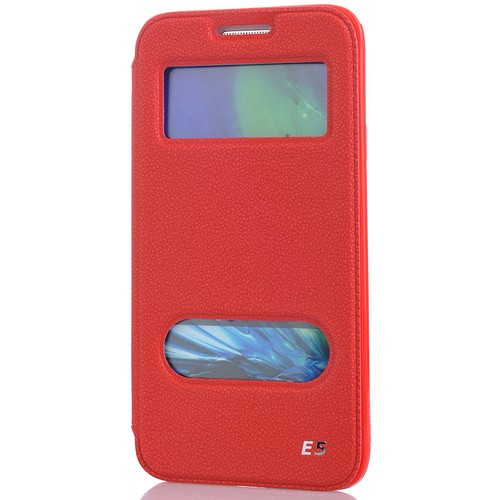 CoverZone Samsung Galaxy E5 Kılıf Çift Pencere Flip Kapaklı Kırmızı
