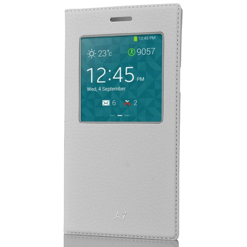 CoverZone Samsung Galaxy A7 Kılıf Pencere Ferdx Flip Kapaklı Beyaz