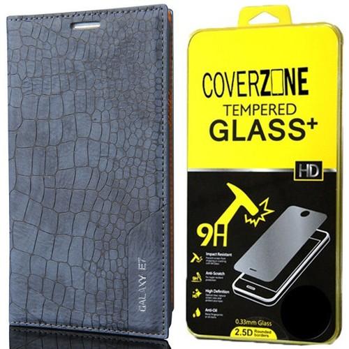 CoverZone Samsung Galaxy E7 Kılıf Kapaklı Rock Lacivert + Temperli Cam