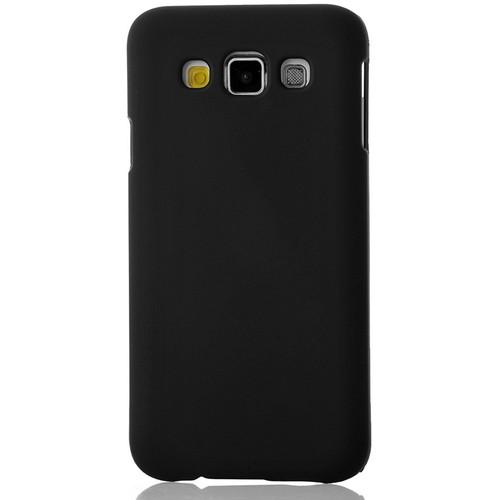 CoverZone Samsung Galaxy E7 Kılıf Rubber Sert Arka Kapak Siyah