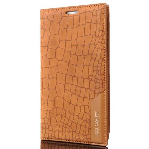 CoverZone Samsung Galaxy E7 Kılıf Kapaklı Rock Açık Kahverengi