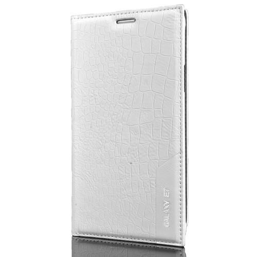 CoverZone Samsung Galaxy E7 Kılıf Kapaklı Rock Beyaz