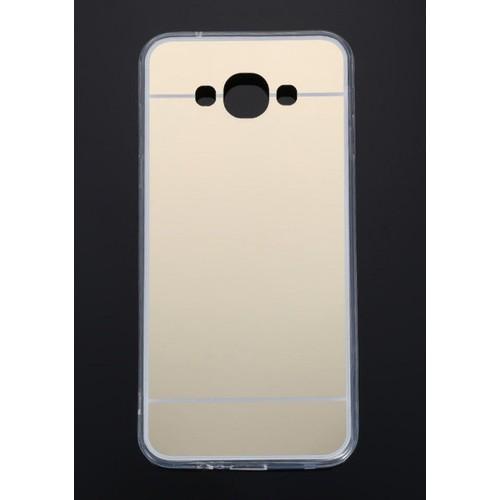 CoverZone Samsung Galaxy A7 Kılıf Aynalı Silikon Kapak Altın