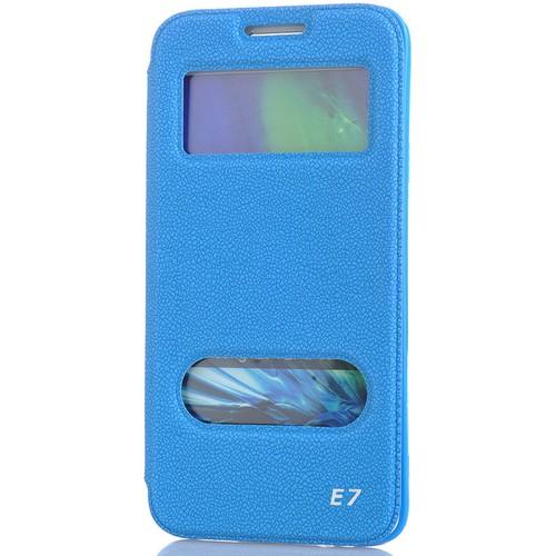 CoverZone Samsung Galaxy E7 Kılıf Kapaklı Çift Pencereli Merry Model Mavi