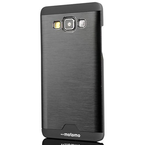 CoverZone Samsung Galaxy E5 Kılıf Metalik Sert Arka Kapak Siyah