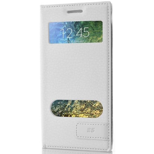 CoverZone Samsung Galaxy E5 Kılıf Kapaklı Safir Beyaz