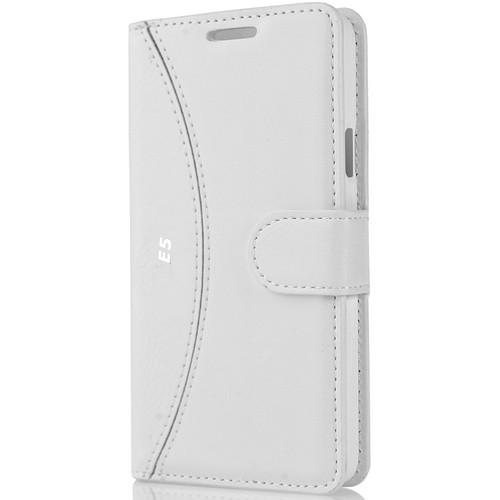 CoverZone Samsung Galaxy E5 Kılıf Delüks Cüzdan Kapaklı Beyaz