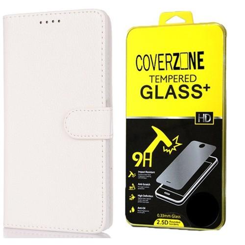 CoverZone Samsung Galaxy E7 Kılıf Kart Gözlü Cüzdan Beyaz + Temperli Cam