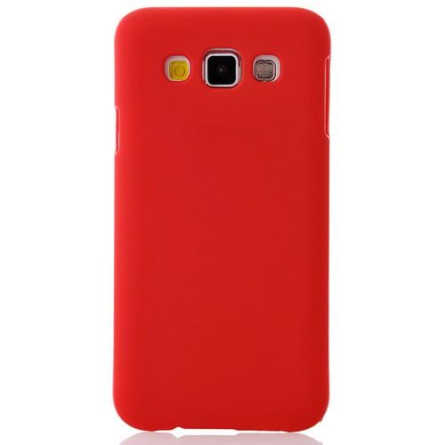 CoverZone Samsung Galaxy E7 Kılıf Rubber Sert Arka Kapak Kırmızı