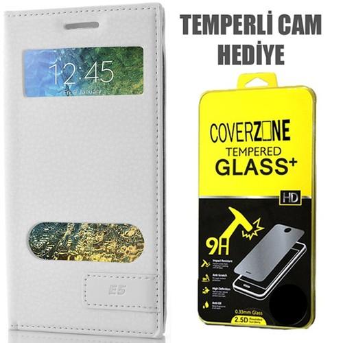 CoverZone Samsung Galaxy E5 Kılıf Kapaklı Safir Beyaz + Temperli Cam