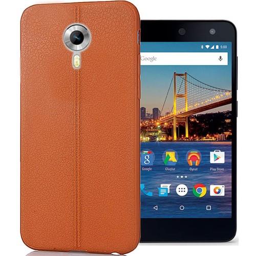 CoverZone General Mobile One 4G Kılıf Deri Görünümlü Silikon Taba