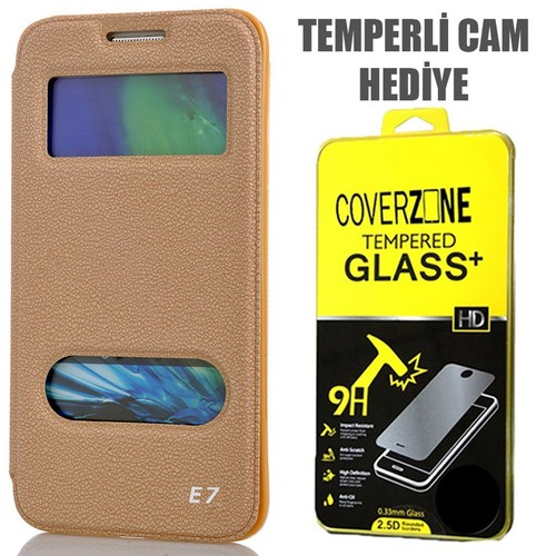 CoverZone Samsung Galaxy E7 Kılıf Kapaklı Çift Pencereli Merry Model Gold + Temperli Cam