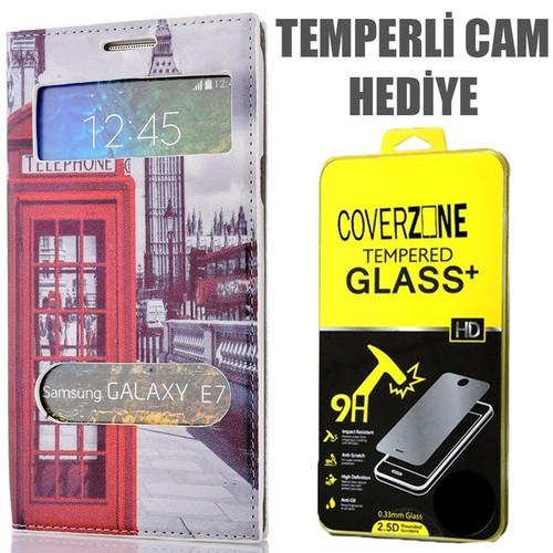 CoverZone Samsung Galaxy E7 Kılıf Çift Pencereli Resimli Telefon Kulübesi + Temperli Cam
