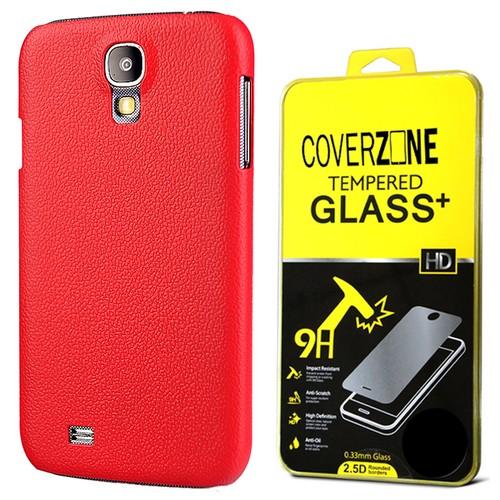CoverZone Samsung Galaxy S4 Kılıf Deri Görünümlü Sert Arka Kapak Kırmızı
