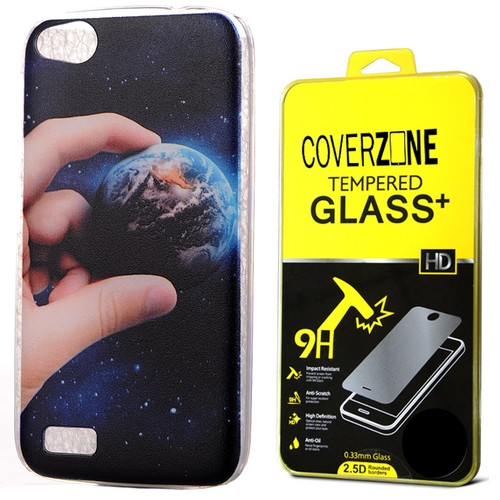 CoverZone General Mobile Discovery Kılıf Small World Kapak + Temperli Cam