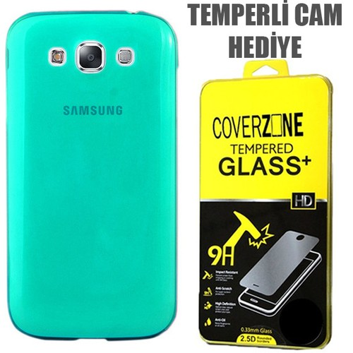 CoverZone Samsung Galaxy E7 Kılıf 0.3mm İnce Silikon Yeşil + Temperli Cam