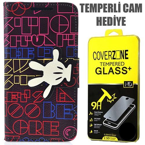 CoverZone HTC Desire 816 Kılıf Kurdaleli Mouse Kapaklı + Temperli Cam