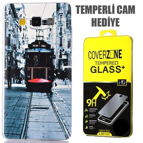 CoverZone Samsung Galaxy E5 Kılıf 0.3mm İnce Silikon Taksim + Temperli Cam