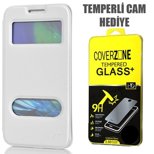 CoverZone Samsung Galaxy E7 Kılıf Kapaklı Çift Pencereli Merry Model Beyaz + Temperli Cam