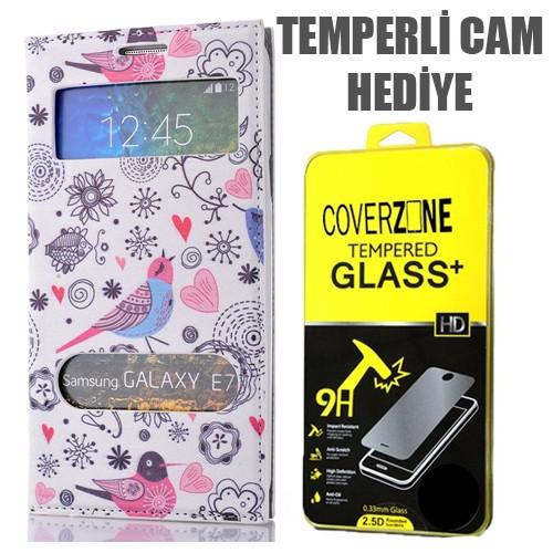 CoverZone Samsung Galaxy E7 Kılıf Çift Pencereli Resimli Kuşlar + Temperli Cam