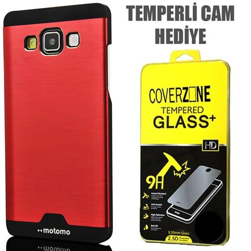 CoverZone Samsung Galaxy E5 Kılıf Metalik Sert Arka Kapak Kırmızı + Temperli Cam