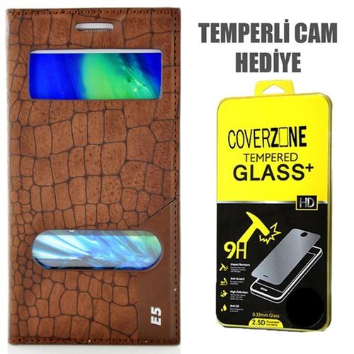CoverZone Samsung Galaxy E5 Kılıf Çift Pencere Flip Rock Kapaklı Kahverengi + Temperli Cam