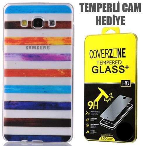 CoverZone Samsung Galaxy E7 Kılıf 0.3mm İnce Silikon Renkli Çizgiler + Temperli Cam