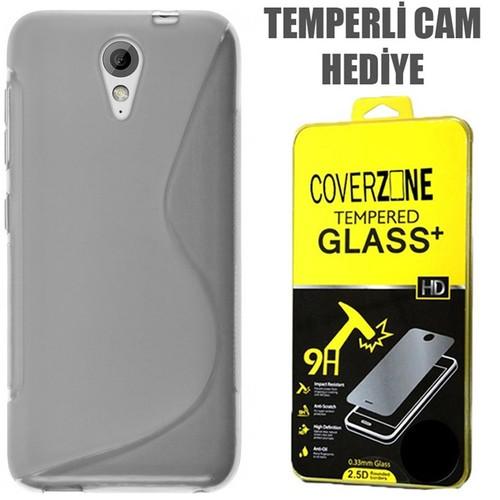 CoverZone HTC Desire 620 Kılıf Silikon S-Line Şeffaf + Temperli Cam