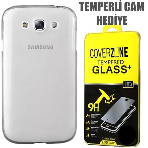 CoverZone Samsung Galaxy E7 Kılıf 0.3mm İnce Silikon Şeffaf + Temperli Cam
