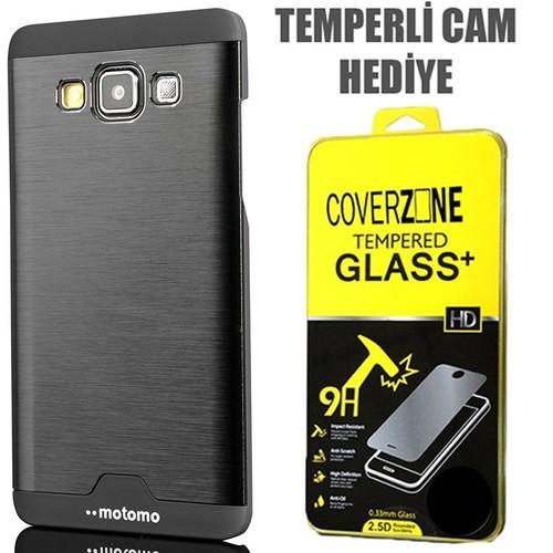 CoverZone Samsung Galaxy E5 Kılıf Metalik Sert Arka Kapak Siyah + Temperli Cam