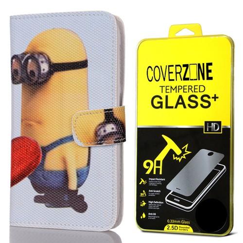 CoverZone General Mobile Discovery Kılıf Kapaklı Çılgın Hırsız + Temperli Cam