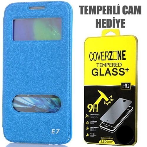 CoverZone Samsung Galaxy E7 Kılıf Kapaklı Çift Pencereli Merry Model Mavi + Temperli Cam