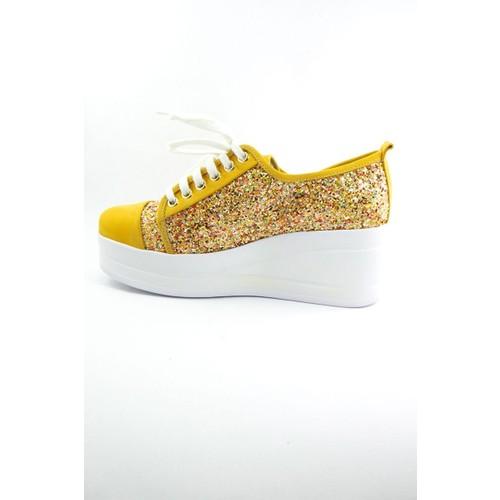 Sofistiqe Simli Deri Sneaker