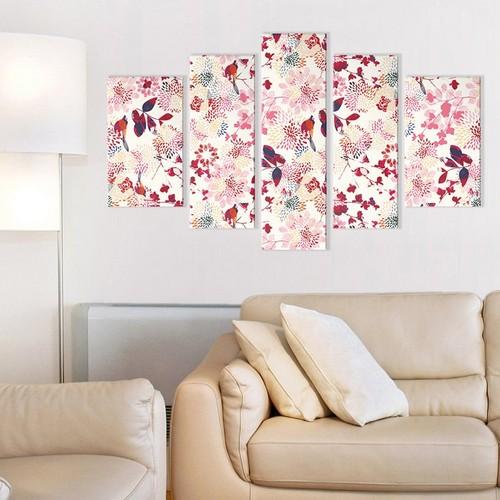 Albitablo Kuşların Dansı 5 Parça Kanvas Tablo 155 x 85 cm