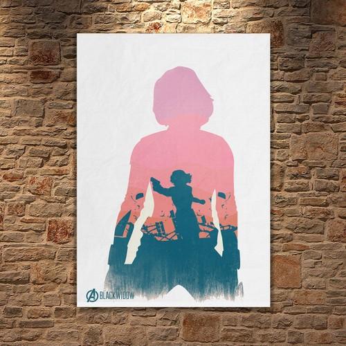 Albitablo Poster Love Marvel Black Widow Kanvas Tablo