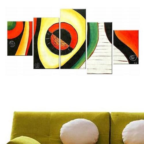 Tictac Design 5 Parçalı Kanvas Tablo Soyut